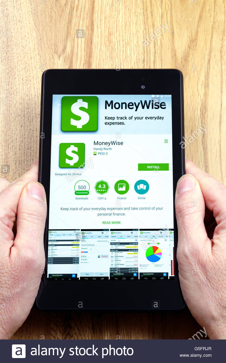 Money wise personal finance management app shown on a tablet computer, Dorset, England, UK - Stock Image