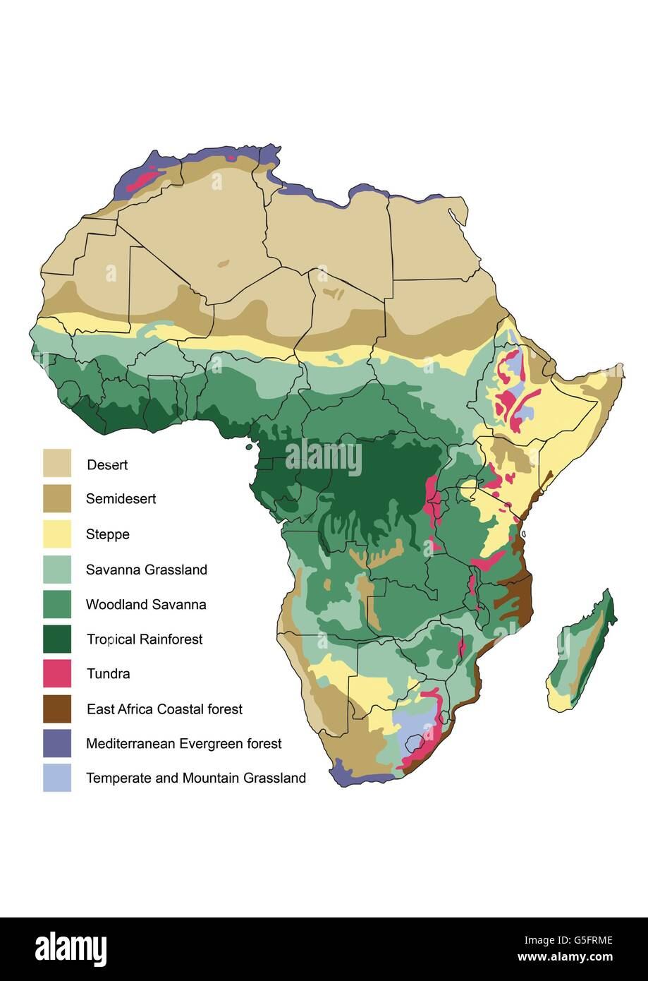 Map Of Africa Vegetation.Vegetation Map Of Africa Stock Photo 106683374 Alamy