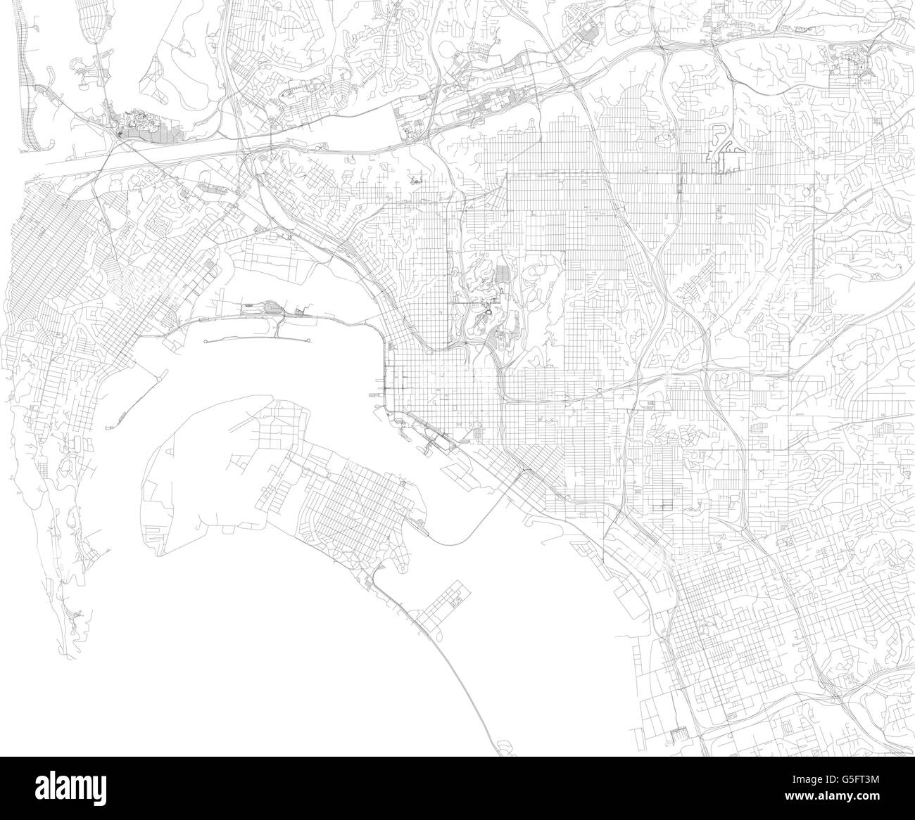 Map of San Diego, satellite view, streets and highways, US ...