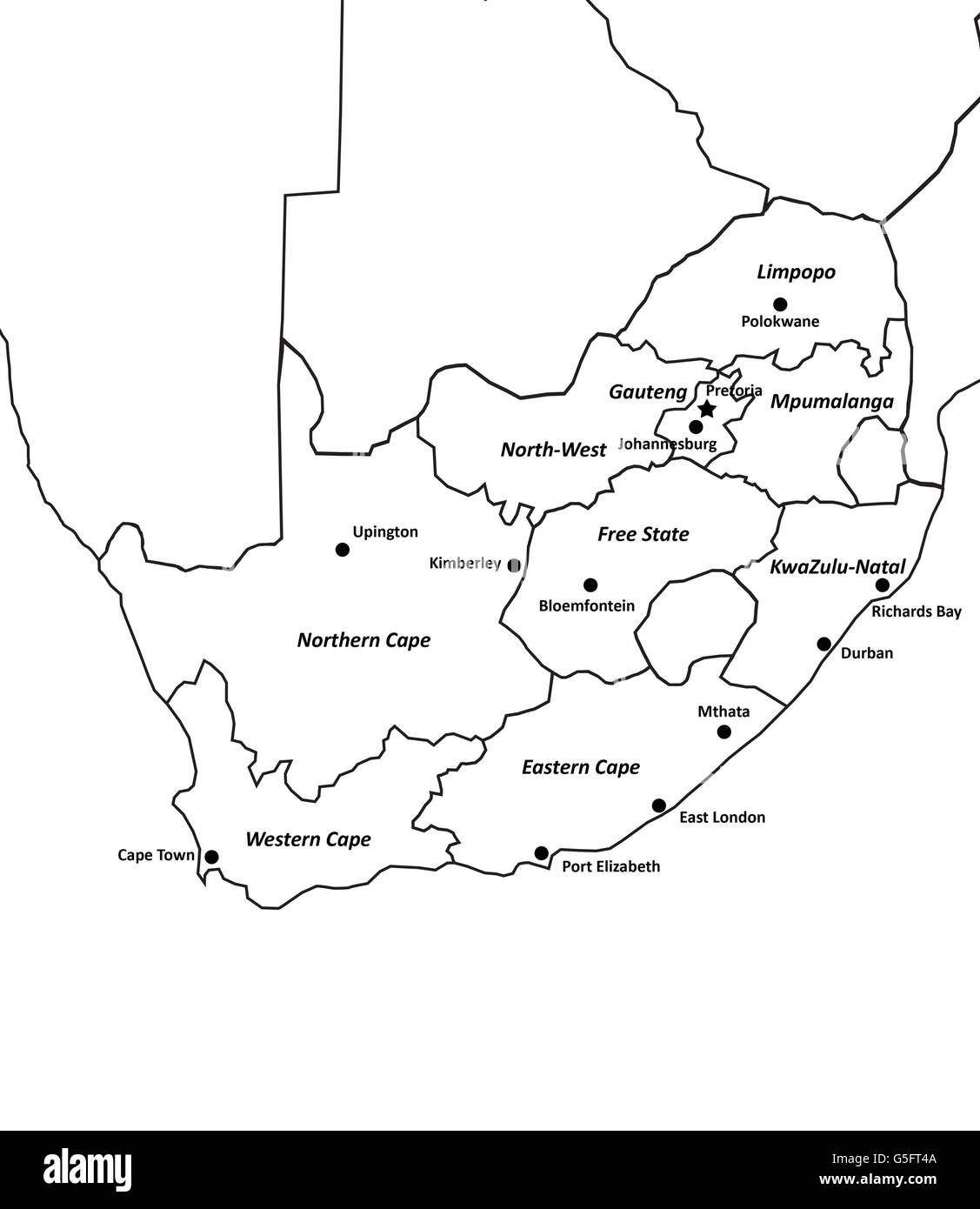 South Africa Map Outline Black And White Stock Photos Images Alamy