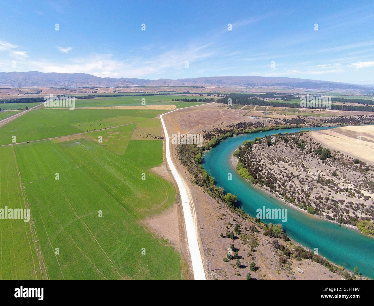 Farmland, Maori Point Road, and Clutha River, Central Otago, South Island, New Zealand - drone aerial - Stock Image