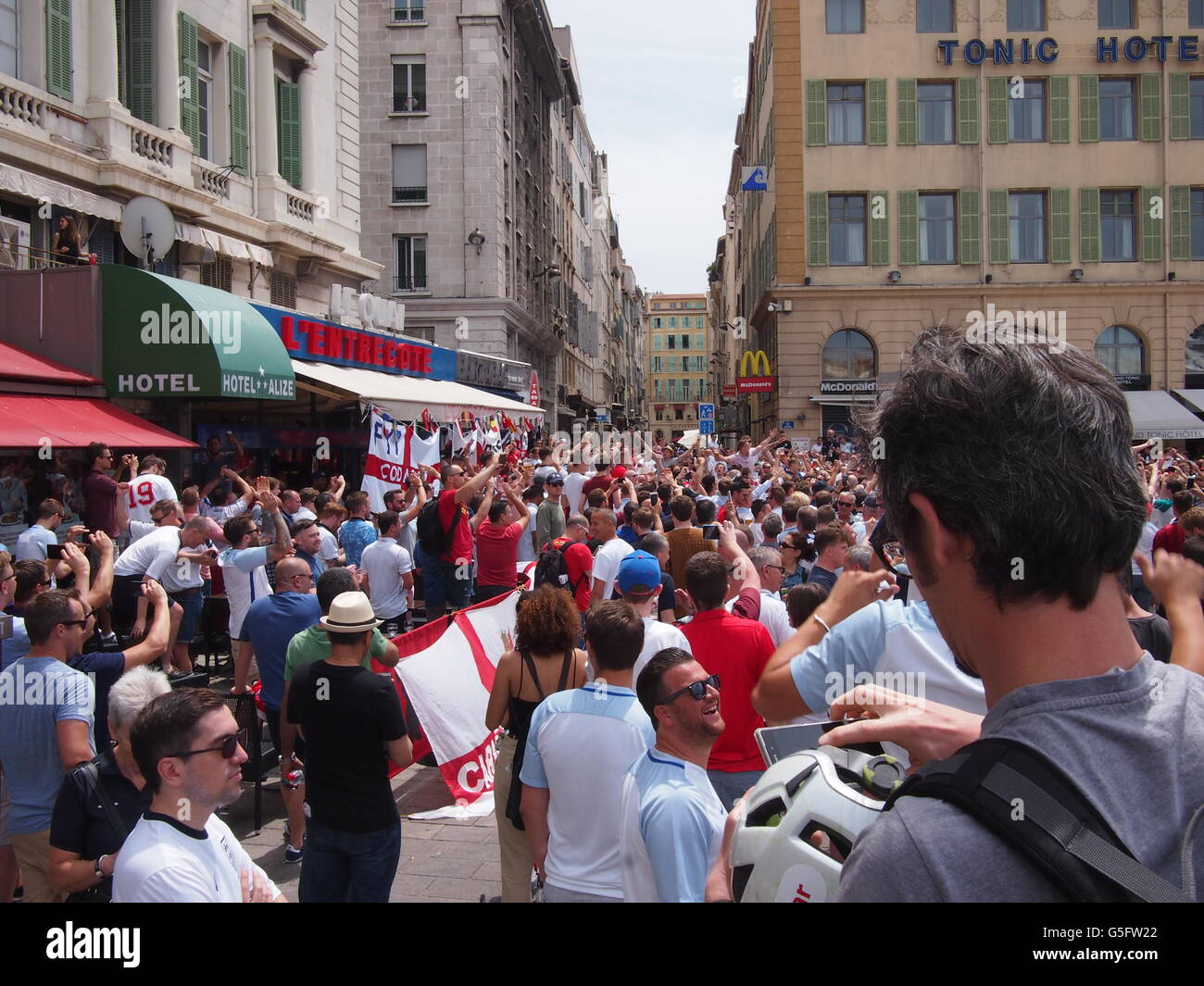 Marseille, France - June 11, 2016: England fans supporting their team in the infamous 1-1 draw with Russia at Euro - Stock Image