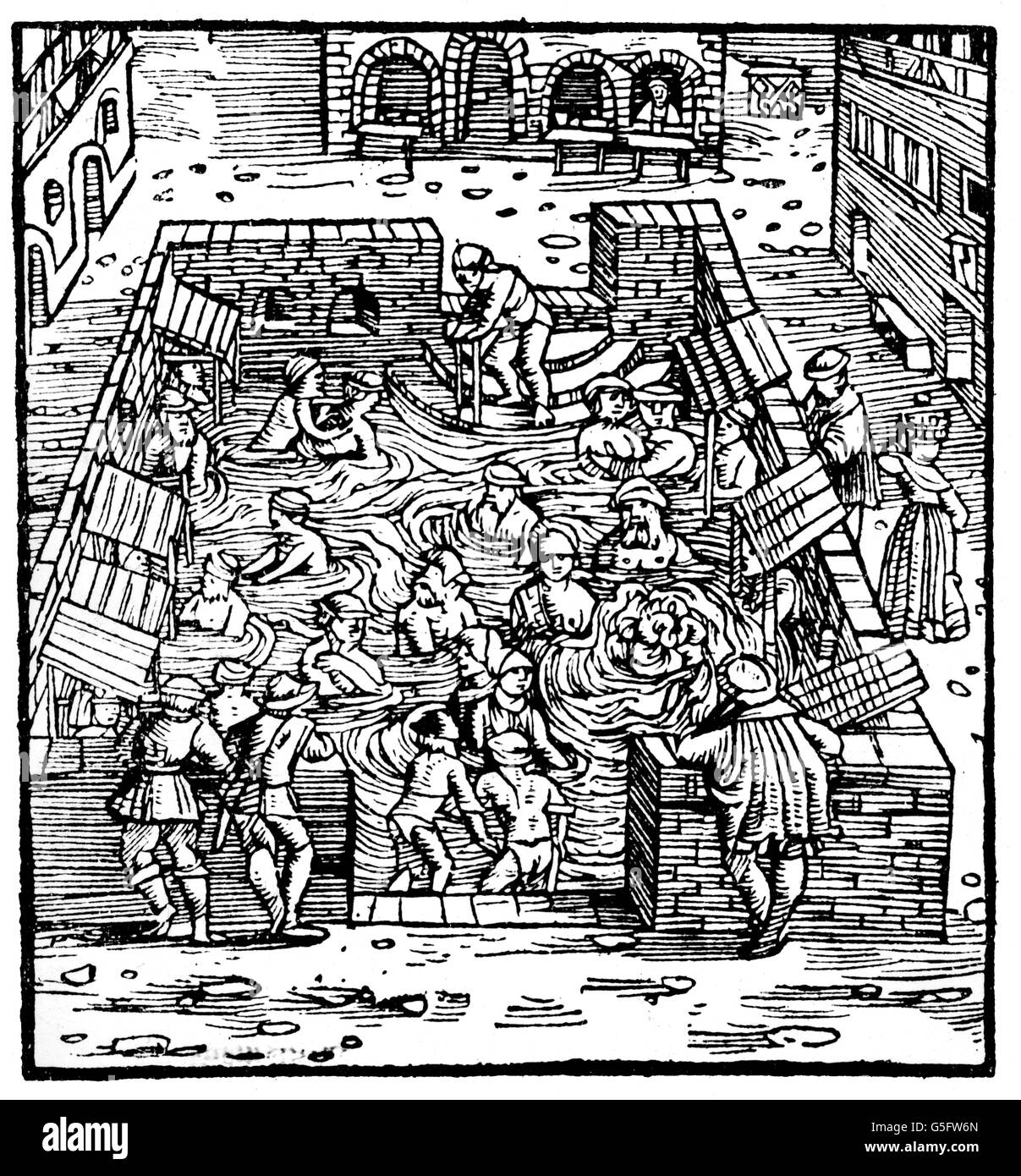"bathing, bathhouse, common bath for both sexes, woodcut, ""Swiss Chronicles"" of Johannes Stumpf, Zuerich, 1554, Additional Stock Photo"