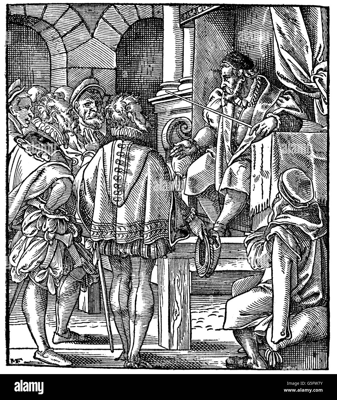 justice, judges, mayor and judge, woodcut, 16th century, 16th century, graphic, graphics, jurisdiction, court of - Stock Image