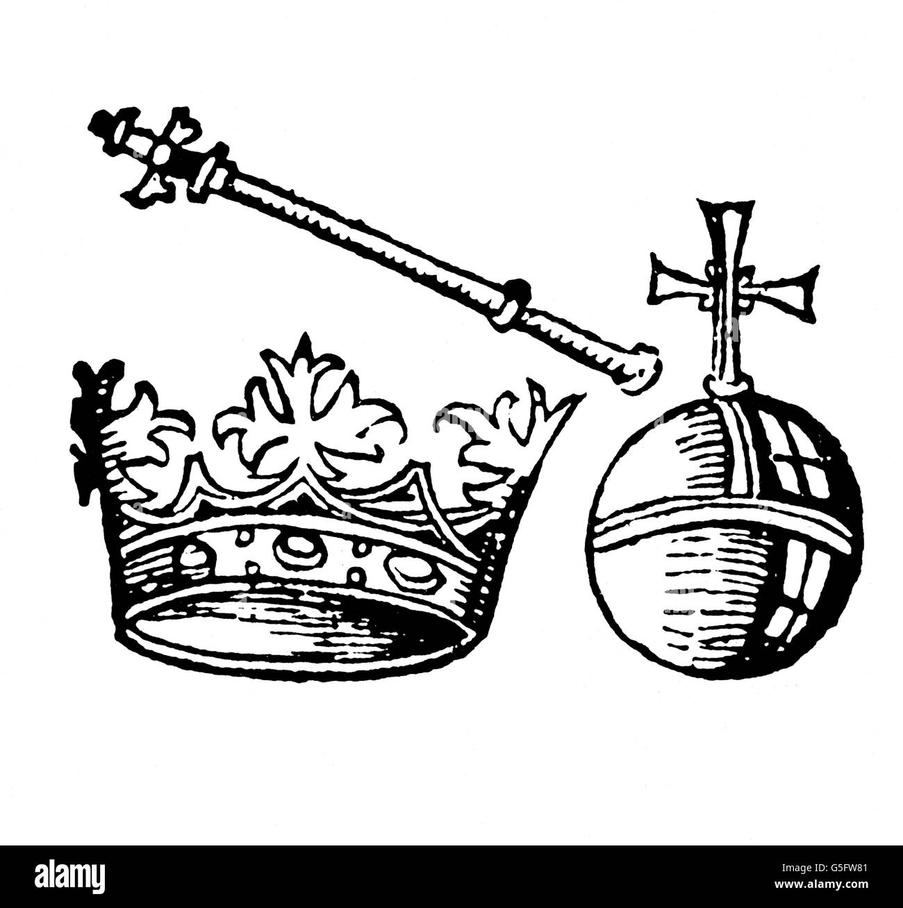 crowns / crown jewels, imperial insignia, woodcut, from: Hartmann Schedel (1440 - 1514), Nuremberg Chronicle, print: - Stock Image