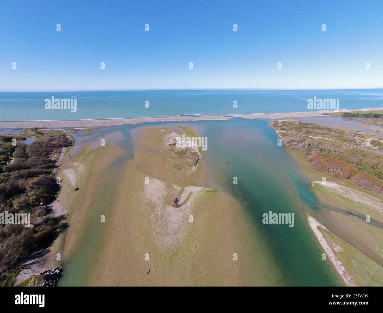 Opihi River Mouth, near Temuka, South Canterbury, South Island, New Zealand - drone aerial Stock Photo