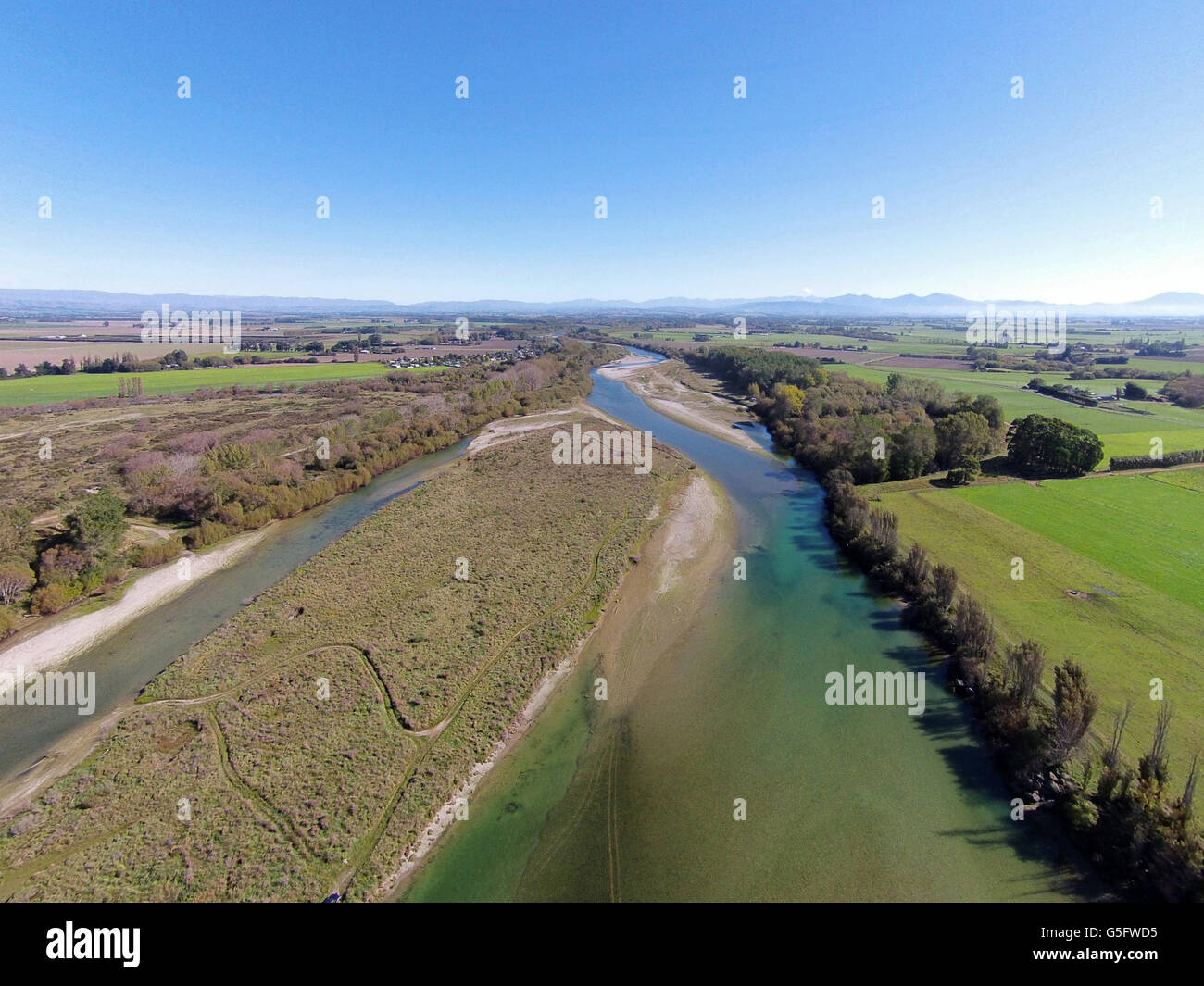 Opihi River near Temuka, South Canterbury, South Island, New Zealand - drone aerial Stock Photo