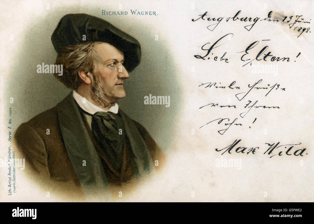 Wagner, Richard, 22.5.1813 - 13.2.1883, German composer, portrait, picture postcard, print: Lithographic Artistic - Stock Image