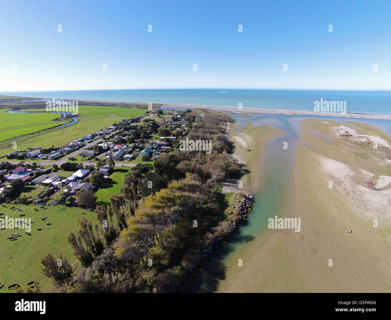 Opihi River Mouth, and Milford Huts, near Temuka, South Canterbury, South Island, New Zealand - drone aerial Stock Photo