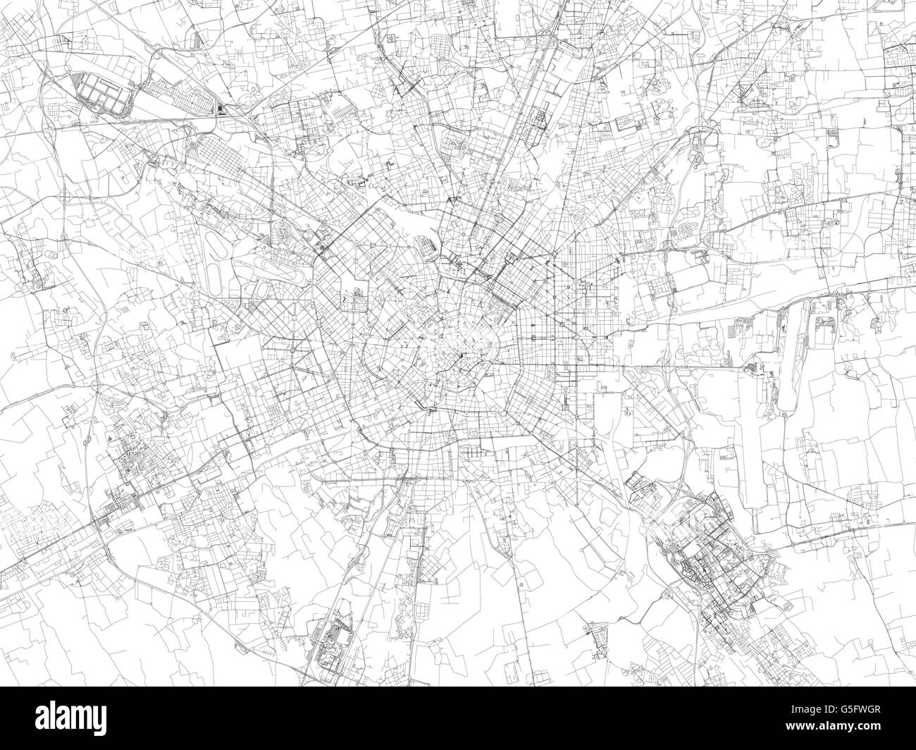 Map of Milan satellite view streets and highways Italy Stock