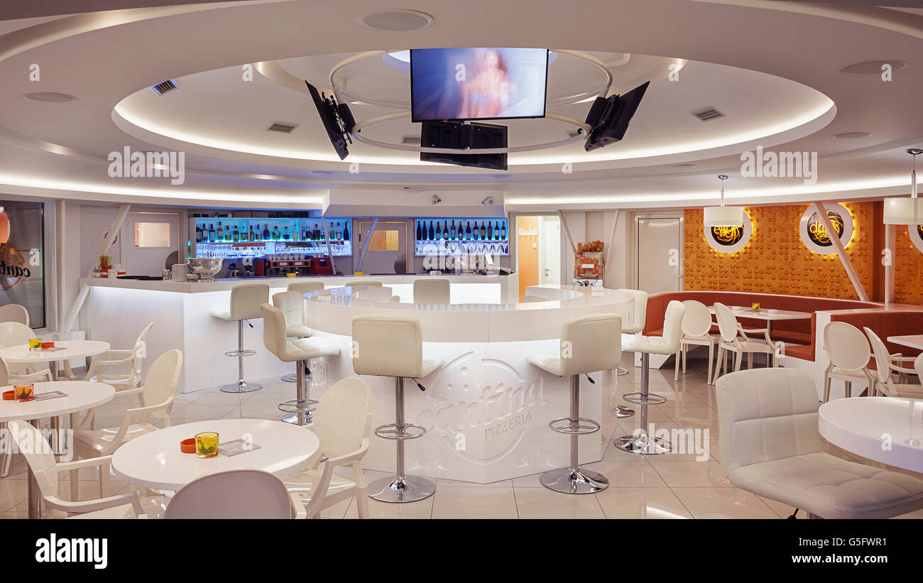 Interior Of A Modern Cafe Bar White Futuristic Furniture With Stock