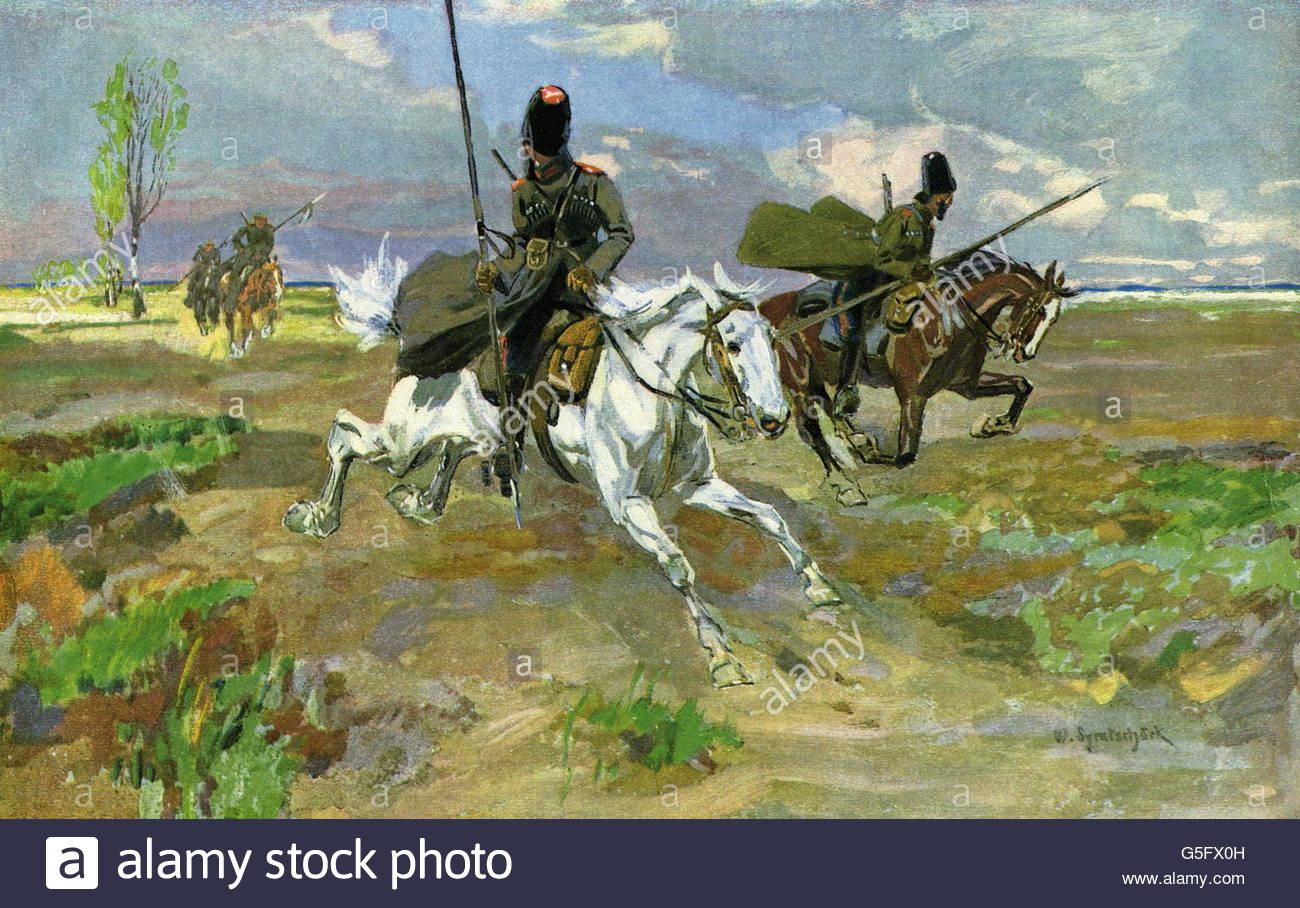 events, First World War / WWI, Eastern Front, straggling cossacks fleeing, print after painting by Walter Syrutschoeck - Stock Image