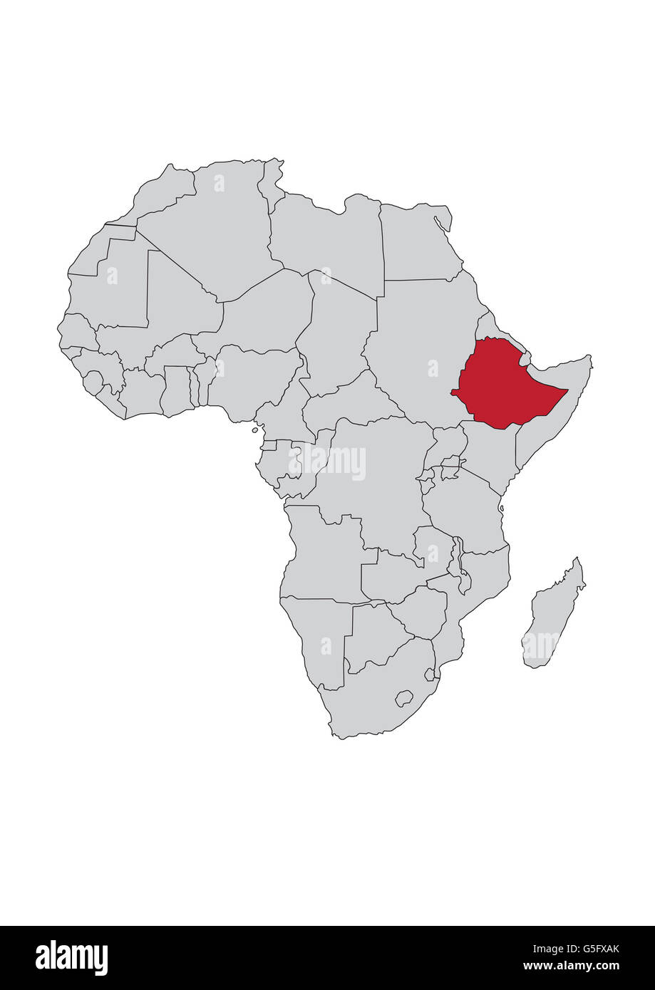 Map of Africa, Ethiopia Stock Photo: 106685451 - Alamy