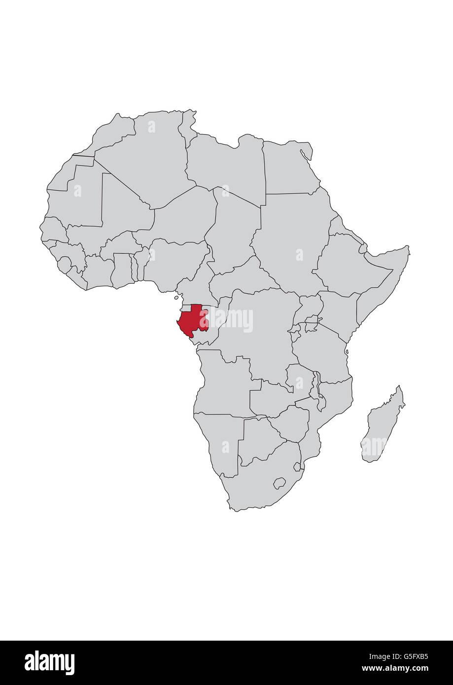 Map Of Africa Gabon Stock Photo 106685465 Alamy