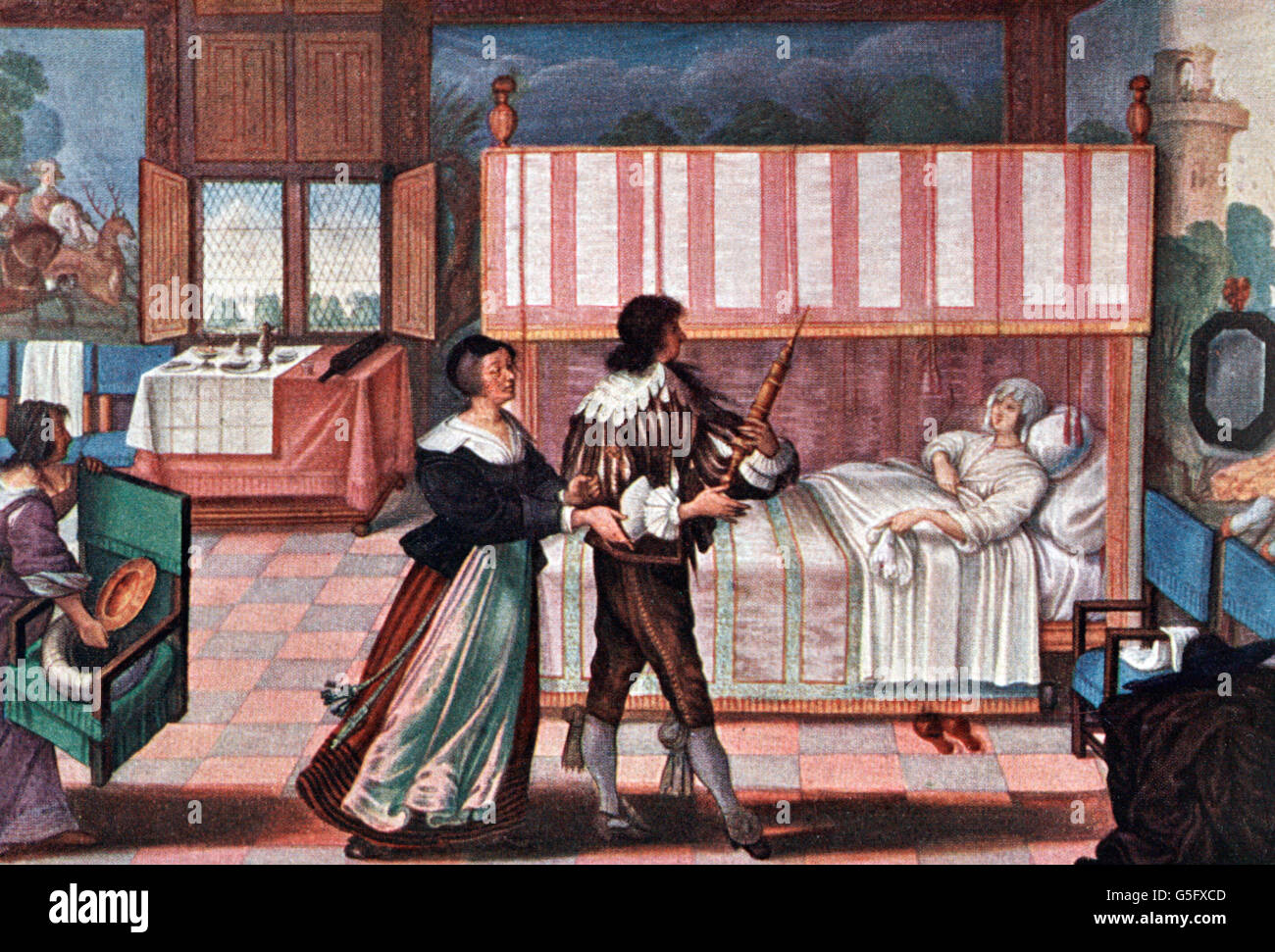 medicine, treatment, examination / therapy / consultation, apothecary with enema at sick-bed, miniature by Abraham Stock Photo