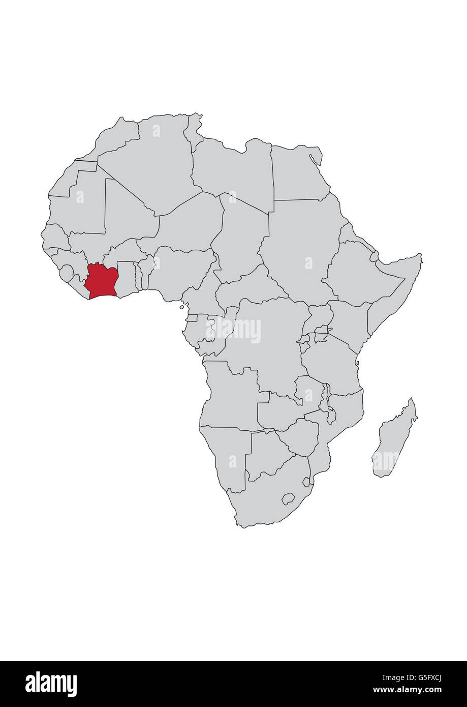 Map of Africa, Côte d'Ivoire (Ivory Coast Stock Photo: 106685506 - Ivory Coast In Africa Map on