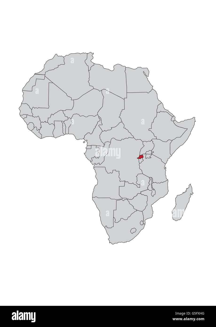 Map of Africa, Rwanda - Stock Image