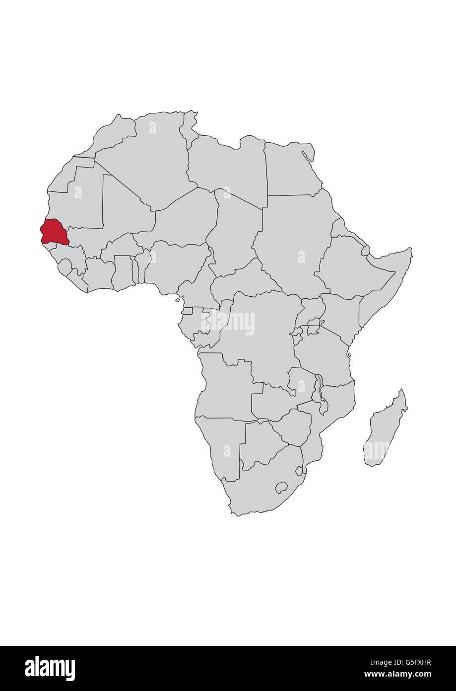 Map Of Africa Senegal Stock Photo 106685651 Alamy