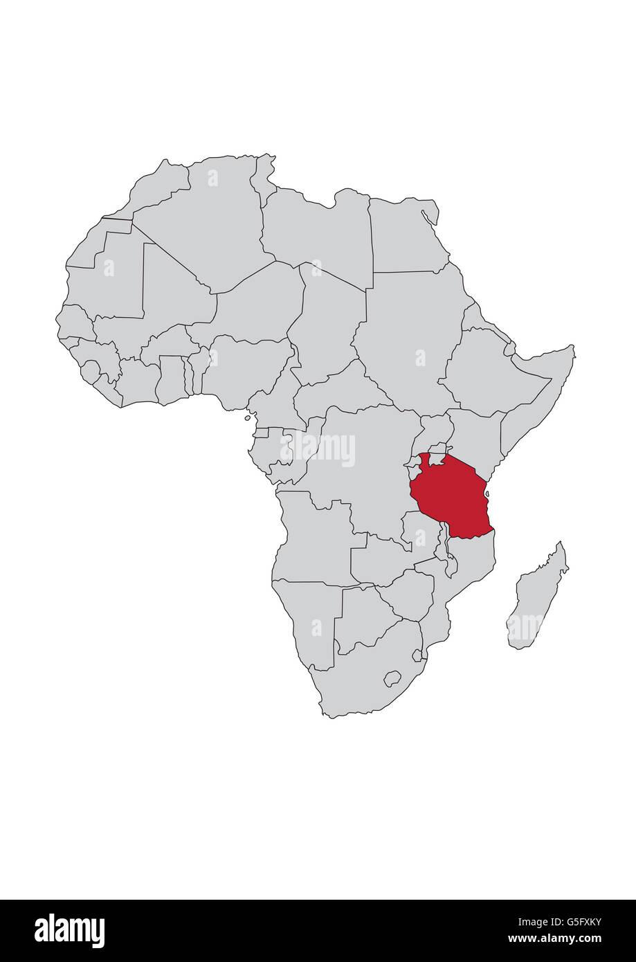 Map Of Africa Tanzania.Map Of Africa Tanzania Stock Photo 106685711 Alamy
