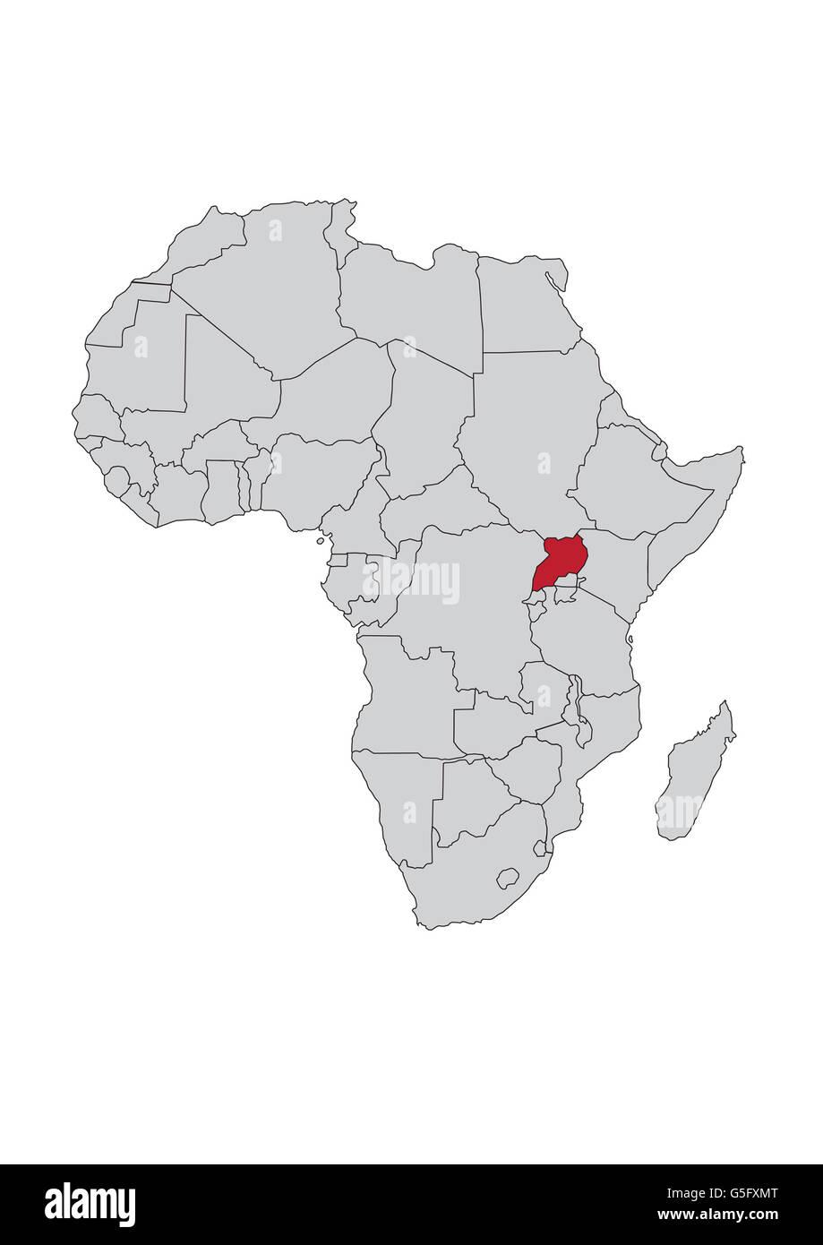 Map Of Africa Uganda Stock Photo 106685736 Alamy