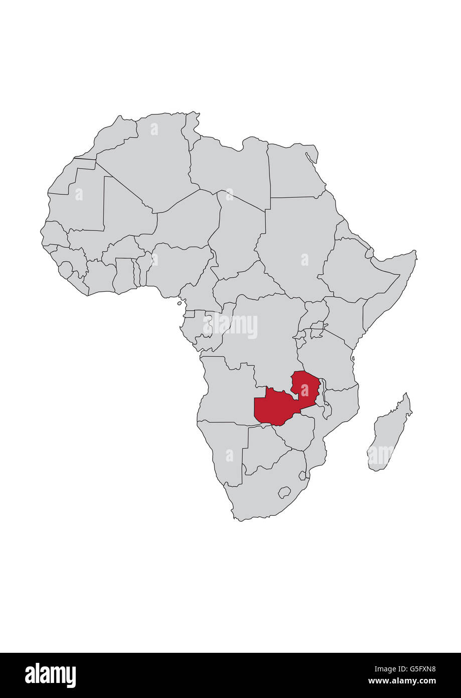Map of Africa, Zambia Stock Photo: 106685748 - Alamy