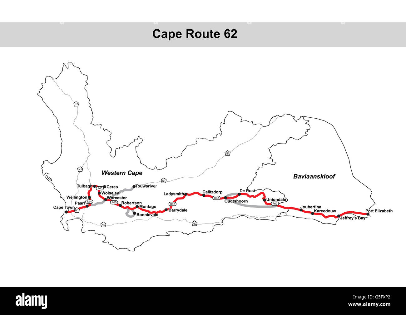 Map Of Route 62 South Africa.Cape Route 62 Map South Africa Stock Photo 106685770 Alamy