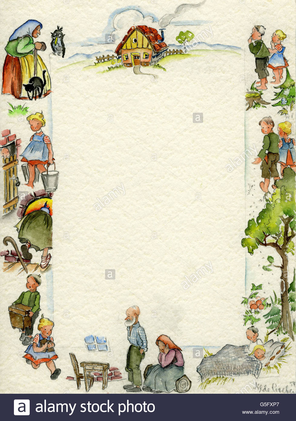 literature, fairy tales, Hansel and Gretel, watercolour, 1954, Artist's Copyright must also be cleared - Stock Image