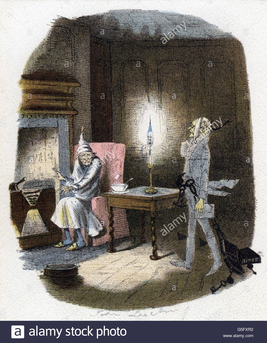 Dickens, Charles, 7.2.1812 - 9.7.1878, British author / writer, scene out of his novel 'Christmas Carol', - Stock Image