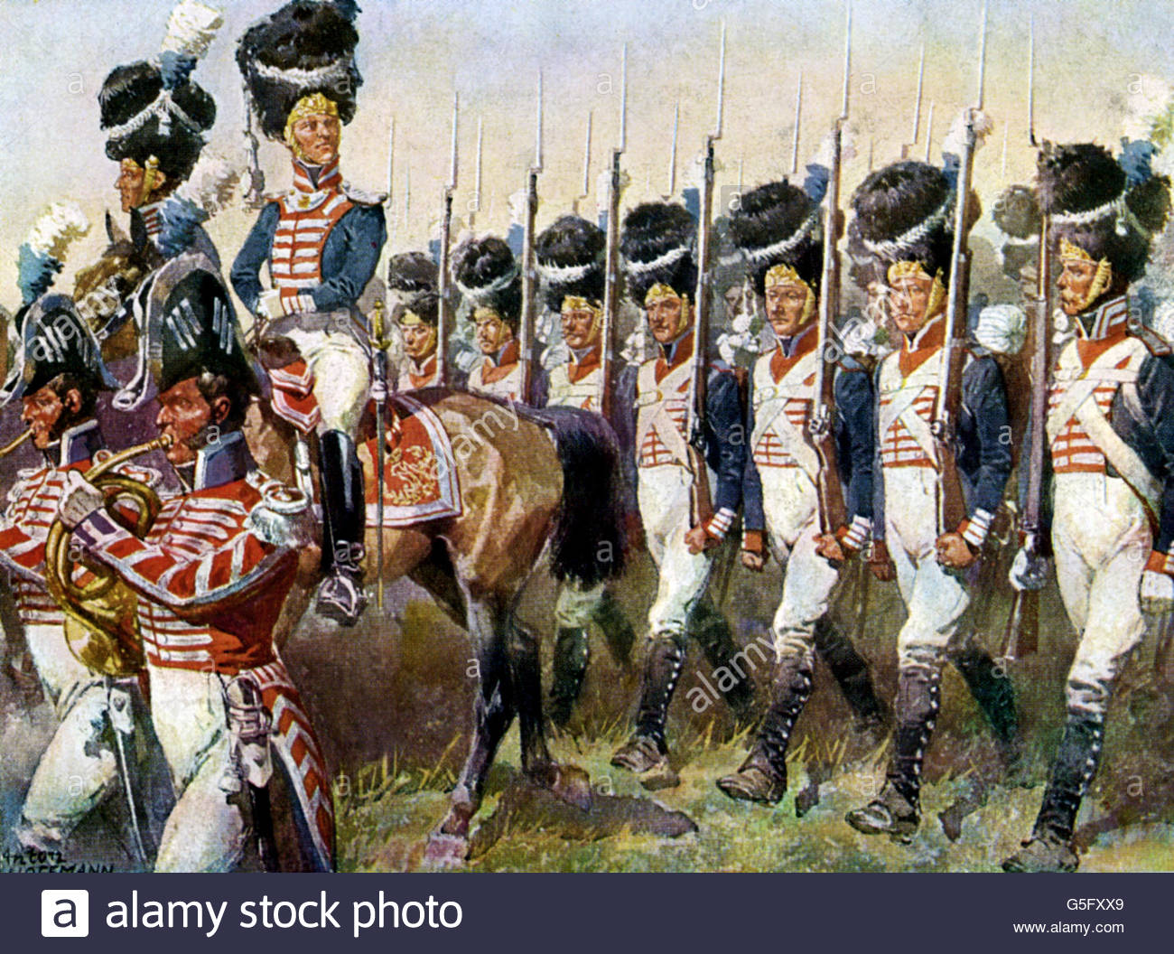 military, Germany, Bavaria, parade of the Grenadier Guard Regiment, 1814, Artist's Copyright must also be cleared - Stock Image