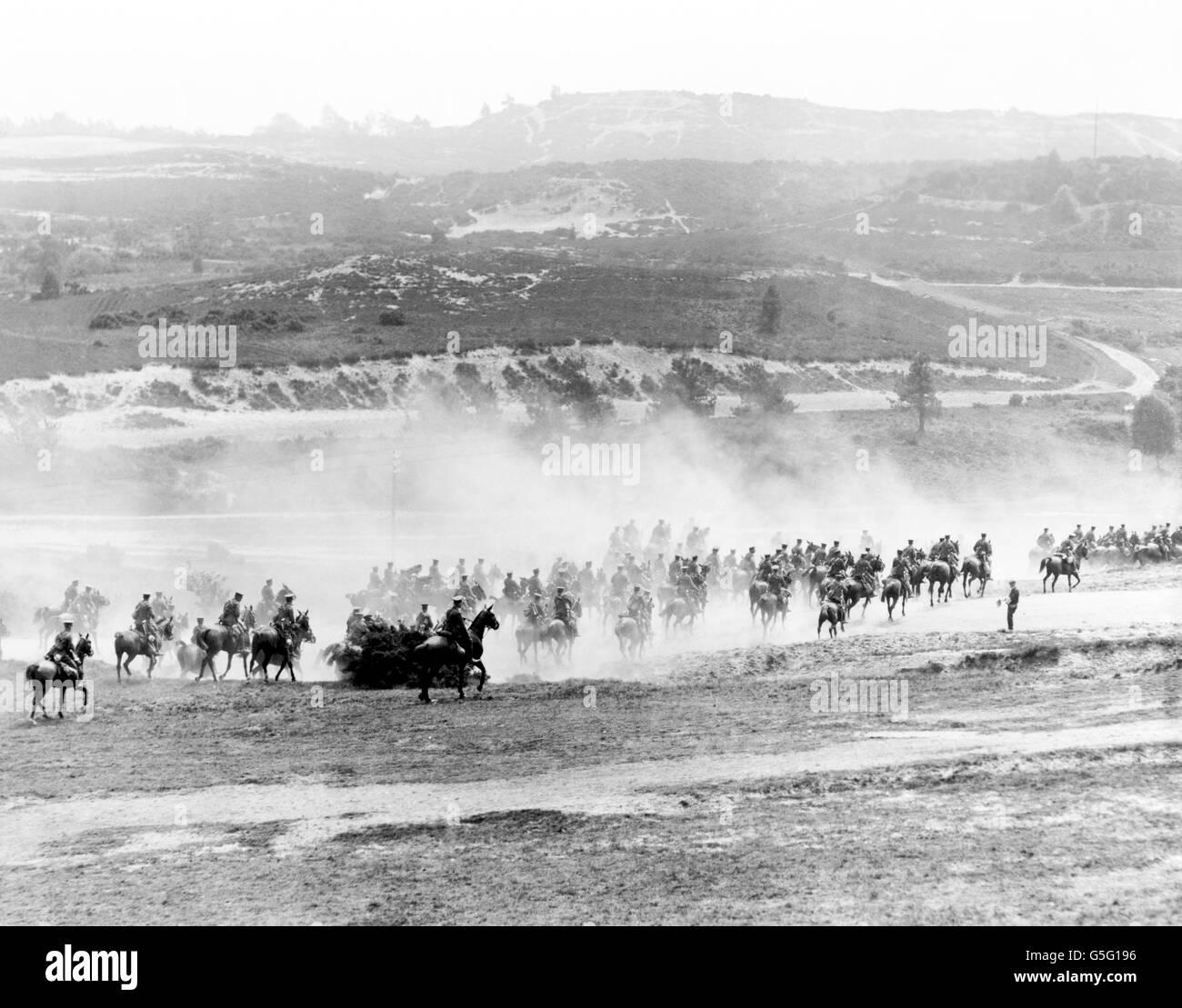 World War One - Cavalry - Aldershot Cavalry at Jubilee Hill in Aldershot - Stock Image