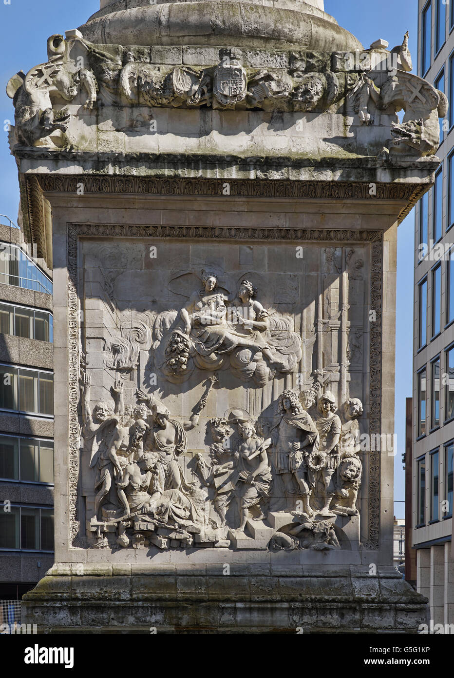 The Monument to the Great Fire of London, 1670-1675. Plaque on west front of the base. - Stock Image