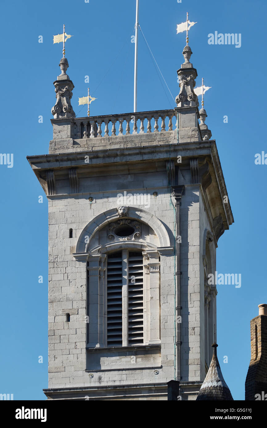 St Andrew Holborn, London: upper section of tower with four weathervanes - Stock Image