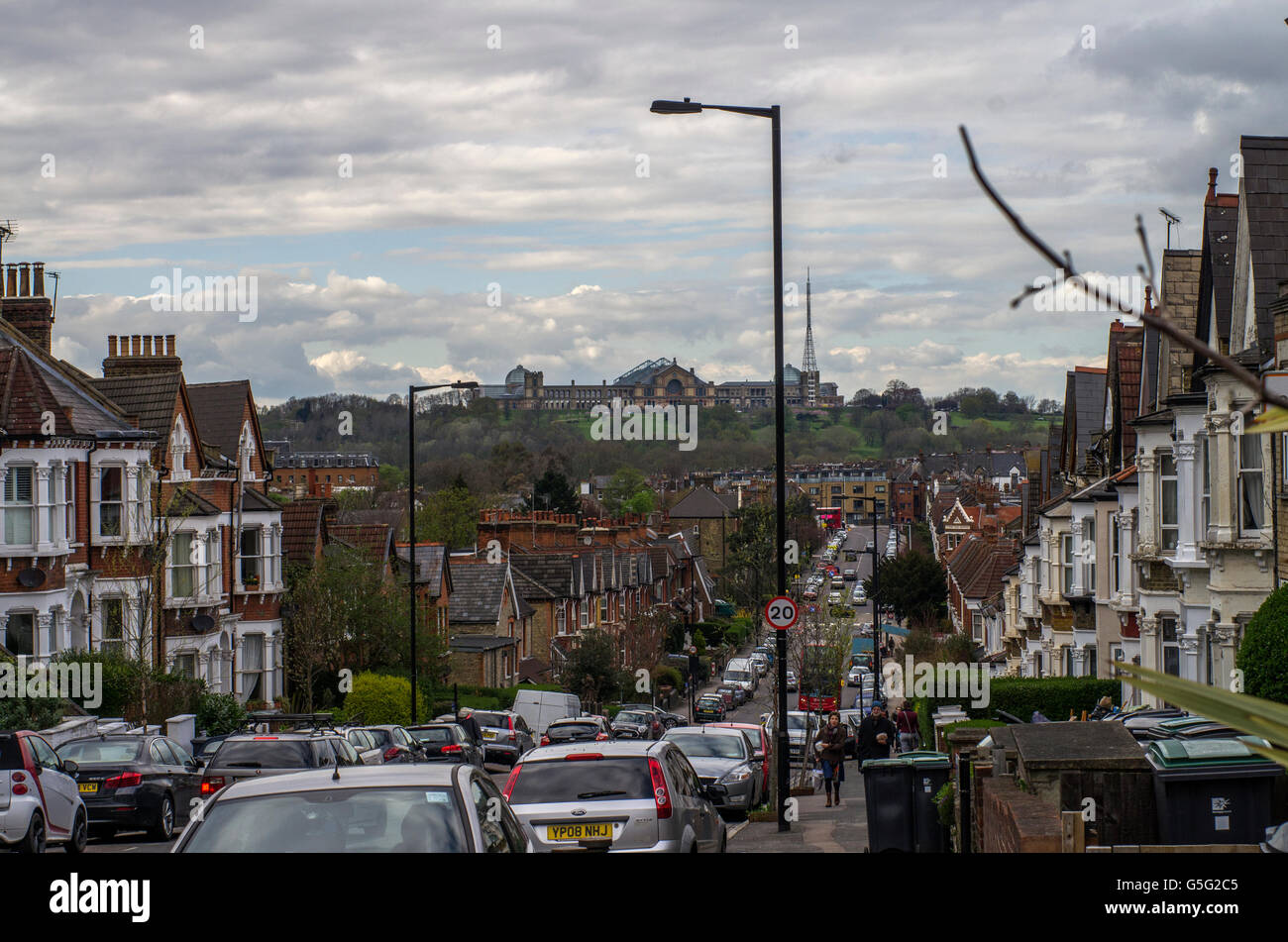 View of Alexandra Palace from Ferme Park Road, Crouch Hill on a bright cloudy day in 2016 Stock Photo