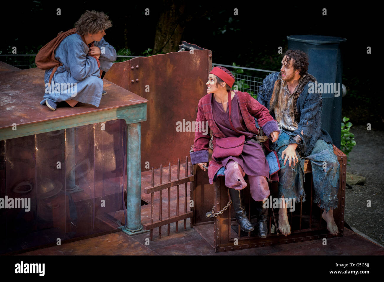 Miracle Theatre Performing Life's A Dream Actors Acting Trebah Gardens Amphitheatre Cornwall. - Stock Image
