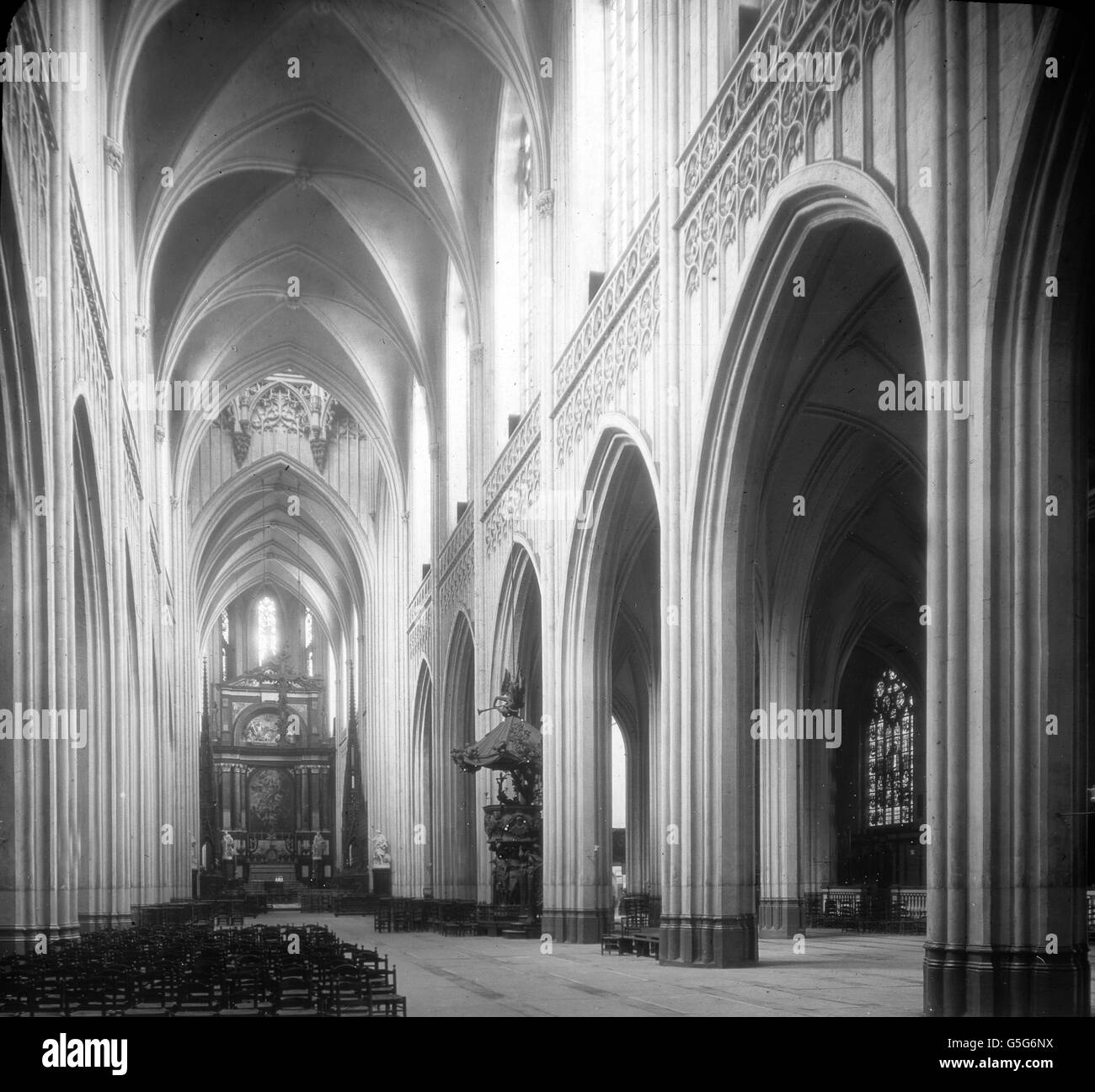 Inside The Antwerp Cathedral Black And White Gothic Architecture Pillar Columns Chairs Europe Belgium Travel History Historical 1910s