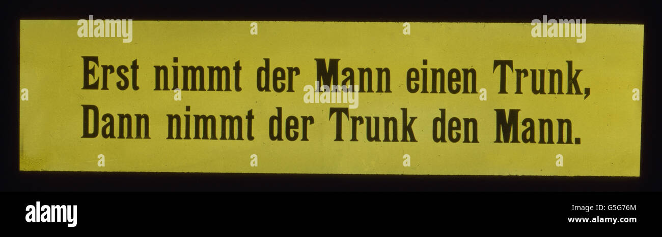 Sinnspruch. Motto. aphorism, alcohol, drug, history, historical, 1910s, 1920s, 20th century, archive, Carl Simon, - Stock Image