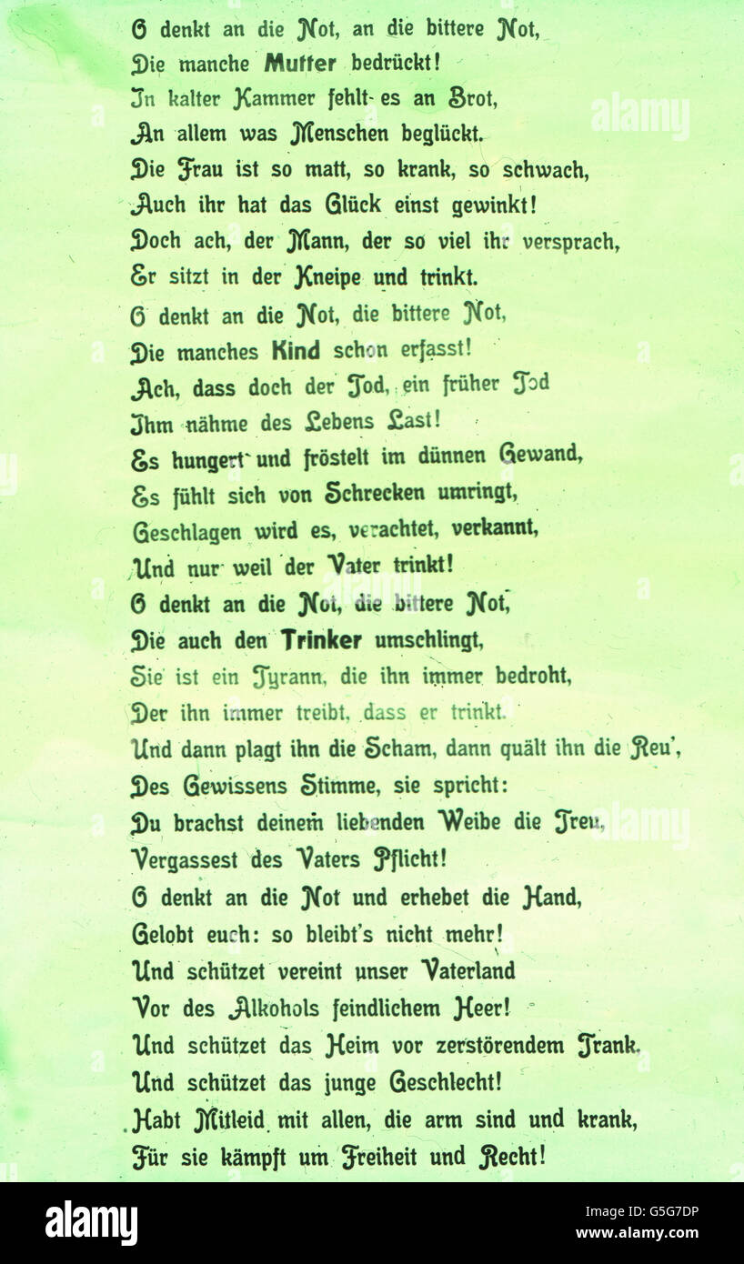 O denkt an die Not..., Poem against alcohol abuse. poem, stanza, literature, poetry, alcohol, drug, history, historical, Stock Photo
