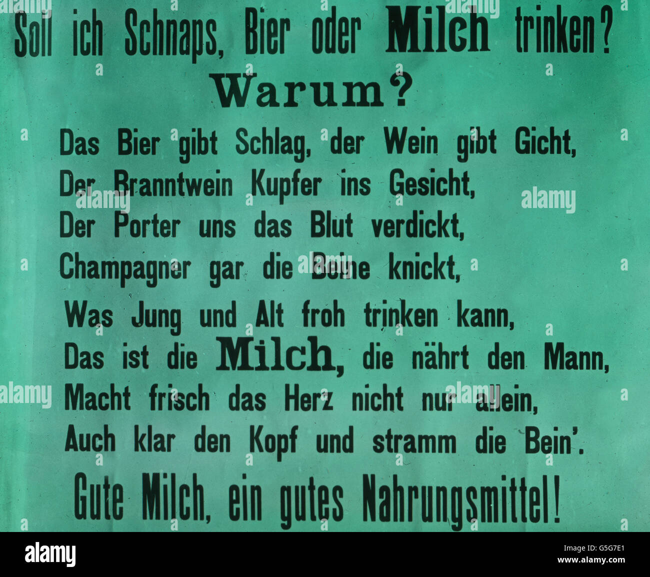 Trinkt Milch! Ad campaign for milk. advert, milk, dairy, healthy, health, communication, advertising, alcohol, drug, Stock Photo