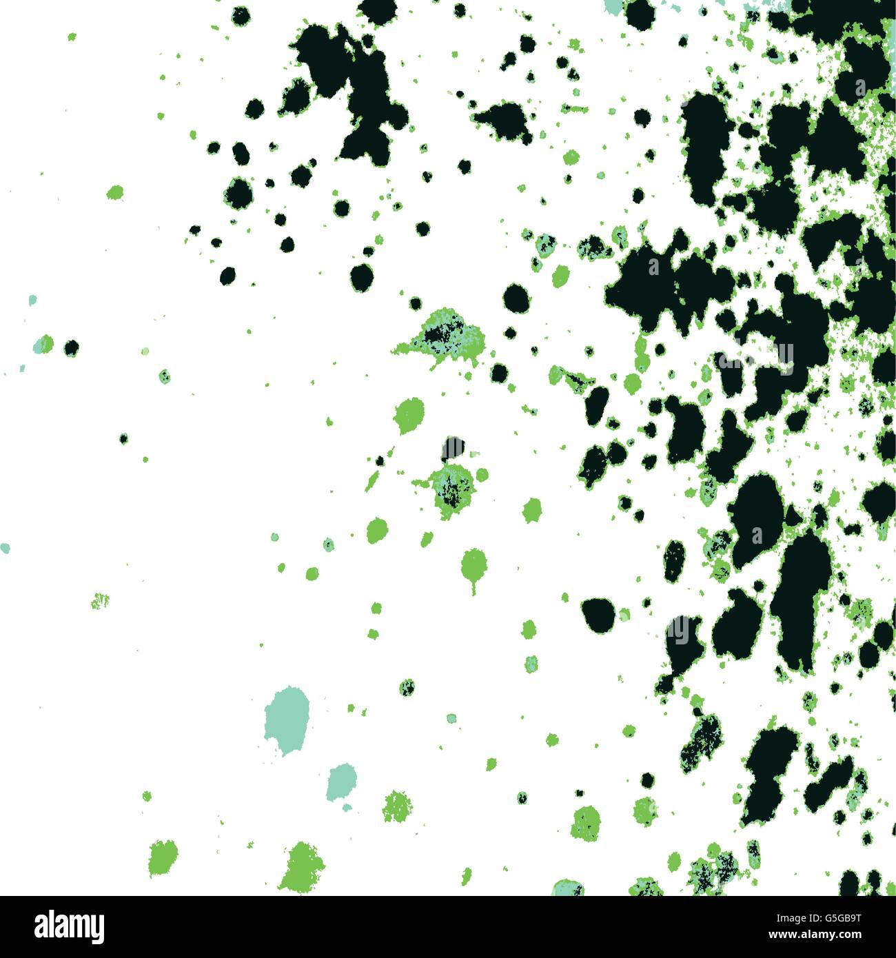 Colorful acrylic paint green and black splatter on white