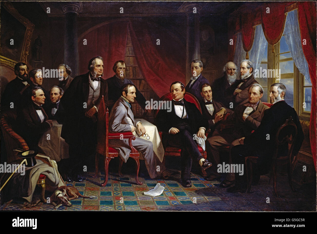 Christian Schussele - Washington Irving and his Literary Friends at Sunnyside - Stock Image