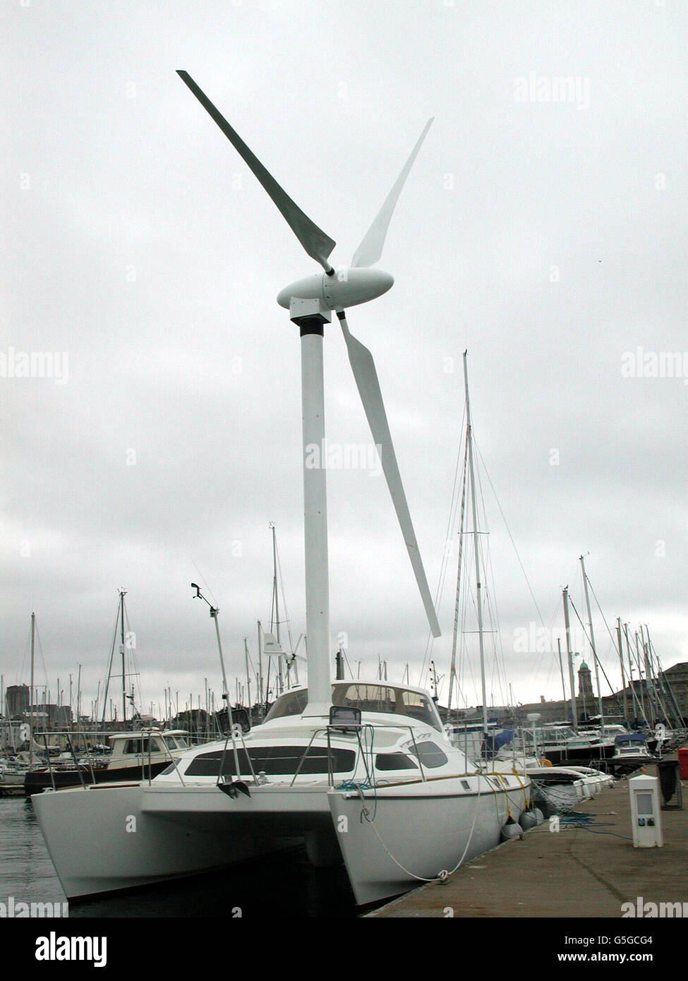 Windmill boat in Plymouth - Stock Image