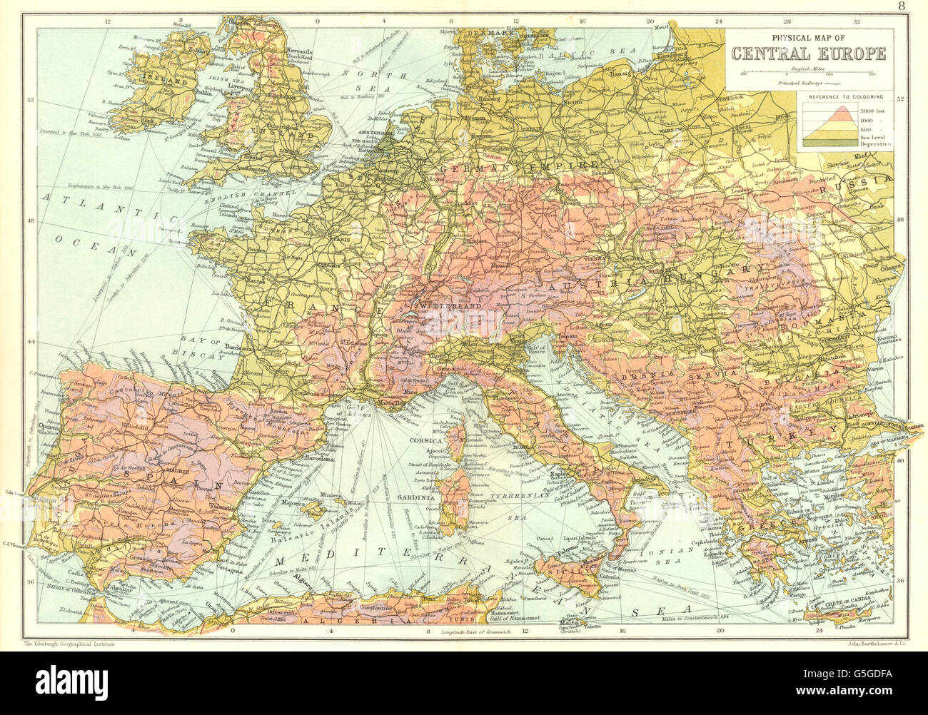 EUROPE: Physical map of Central Europe. Elevation Altitude ...