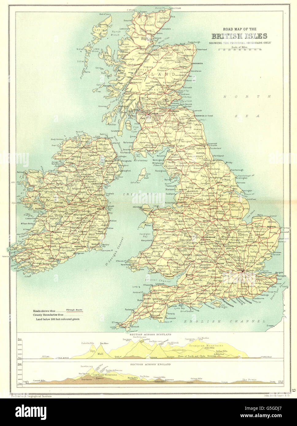 Road Map Of England And Scotland.British Isles Road Map Main Roads Sections Across Scotland Stock