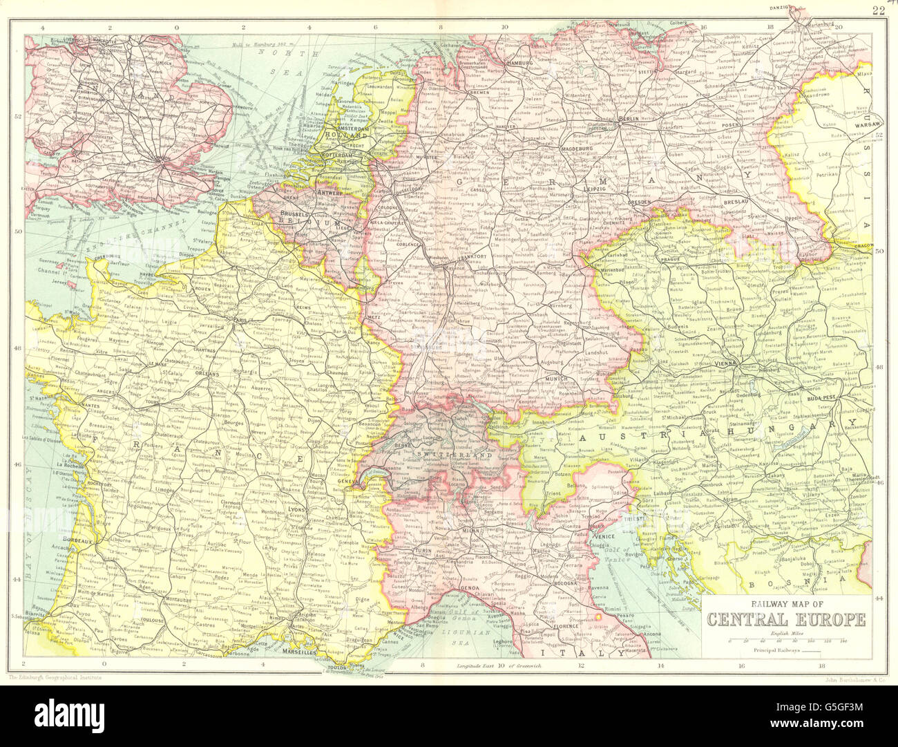 Map Of France Germany Switzerland.Central Europe Railways France Germany Austria Hungary Switzerland