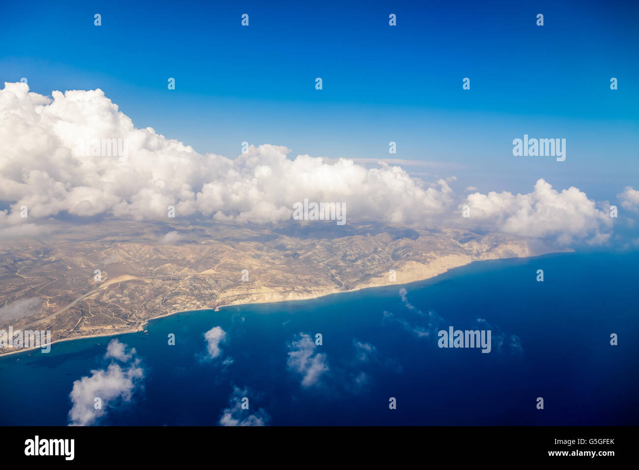 Cyprus island shore and Mediterranian sea view from the airplane. - Stock Image