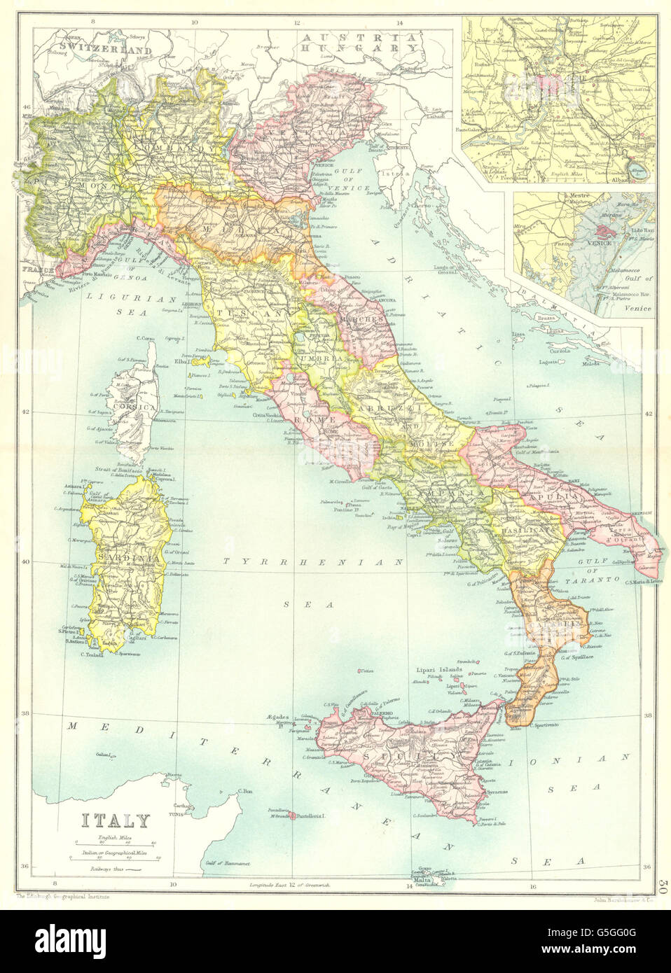 Maps of venice stock photos maps of venice stock images alamy italy showing regionsset maps of rome venice cassells 1909 gumiabroncs Gallery