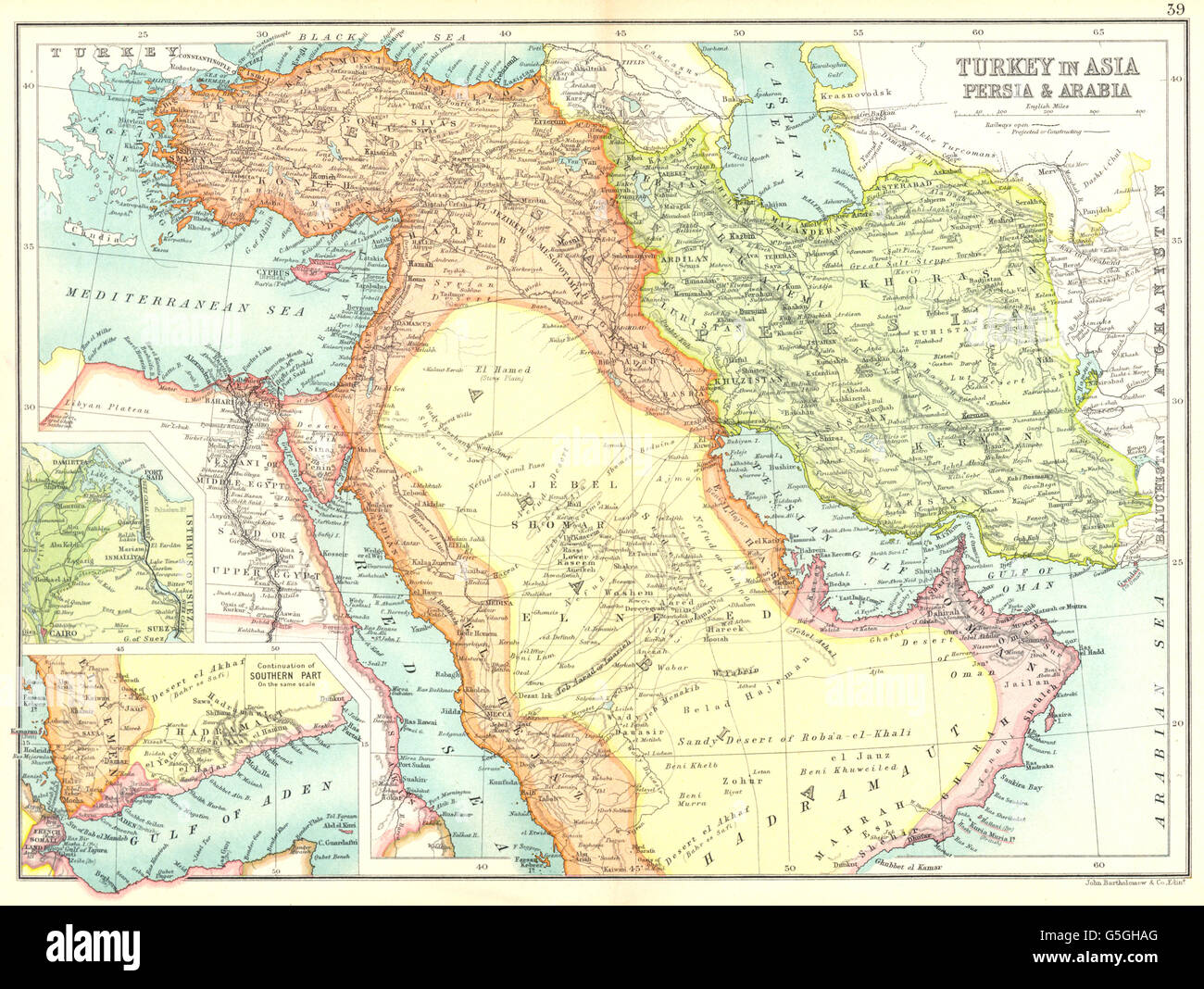 MIDDLE EAST:Turkey in Asia Persia Arabia;Suez Canal; Gulf of ...