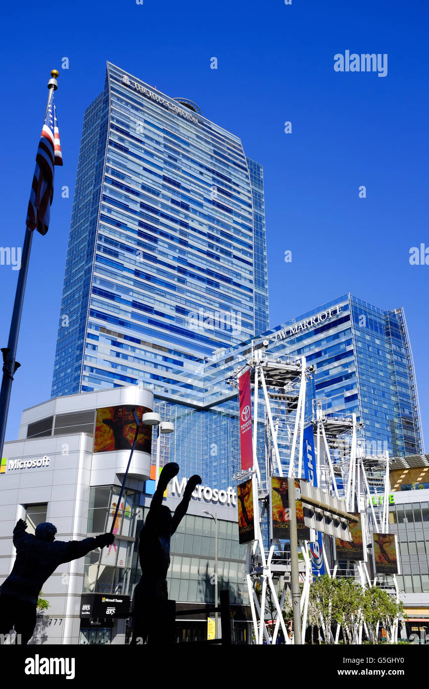 The Staples Center and Nokia Plaza complex in Los Angeles Calfornia - Stock Image