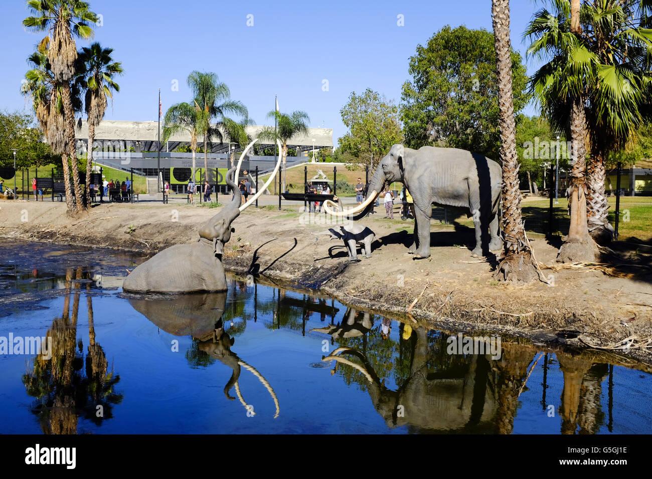 La Brea Tar Pit Los Angeles Mammoth ancient age history. - Stock Image