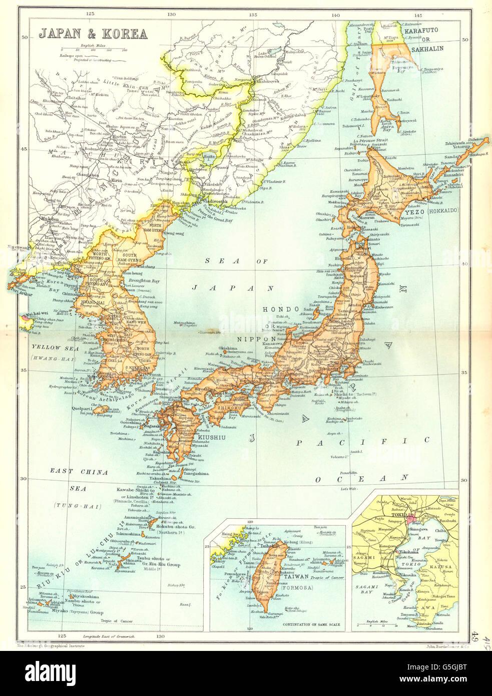 Japan korea inset maps of taiwan tokyo cassells 1909 stock japan korea inset maps of taiwan tokyo cassells 1909 gumiabroncs Images